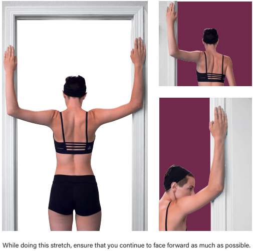 Woman performing door stretch